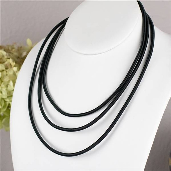 3mm Black Satin Cord Necklace - 16 inch