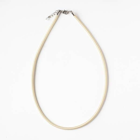 3mm Cream Satin Cord Necklace - 17 inches