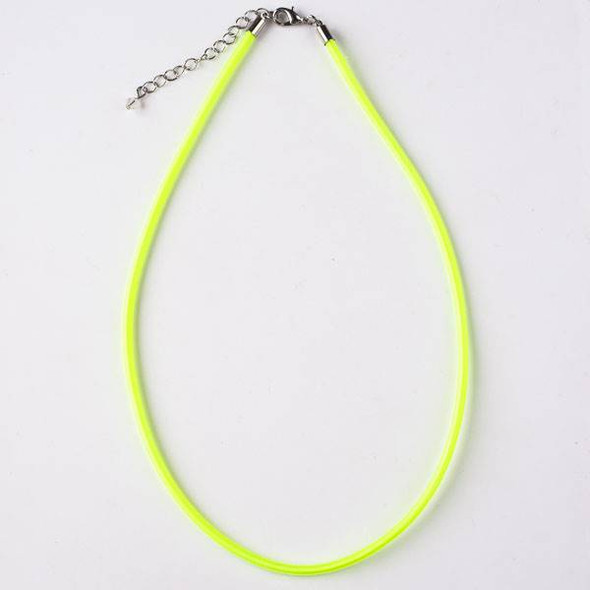 3mm Neon Yellow Satin Cord Necklace - 17 inches