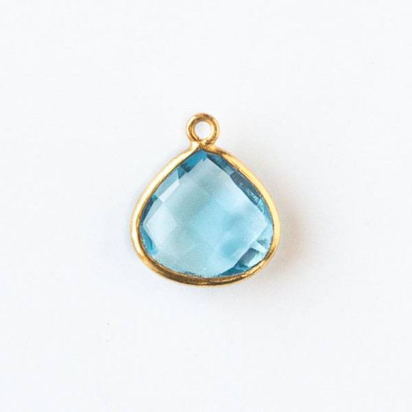 Sky Blue Topaz approximately 14x16mm Faceted Almond Drop with a Gold Plated Brass Bezel