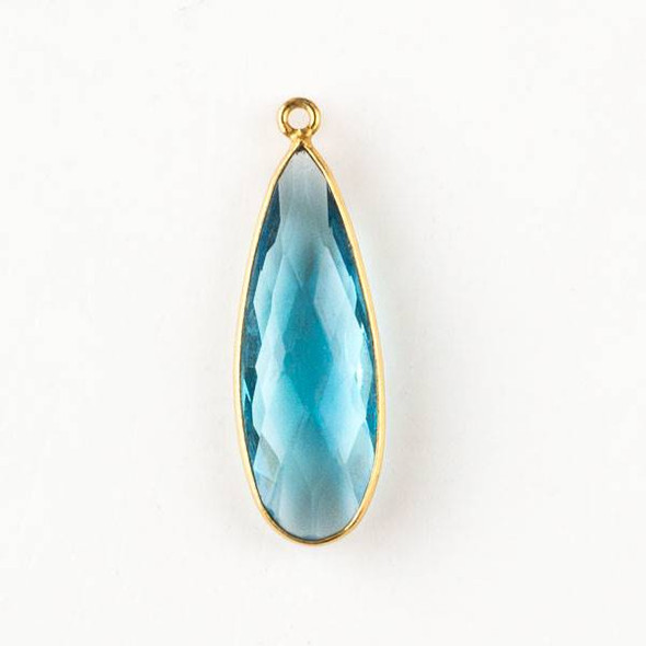 Sky Blue Quartz approximately 11x35mm Faceted Long Teardrop Drop with a Gold Plated Brass Bezel