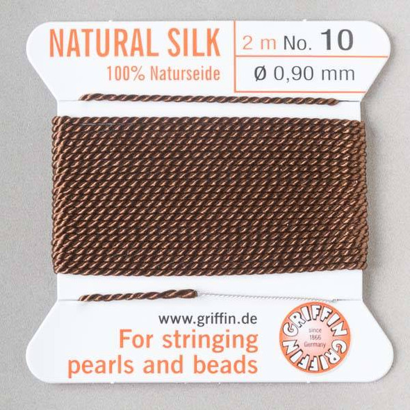 Griffin 100% Natural Silk Bead Cord - #10 (.90mm) Brown