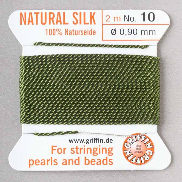 Griffin 100% Natural Silk Bead Cord - #10 (.90mm) Olive Green