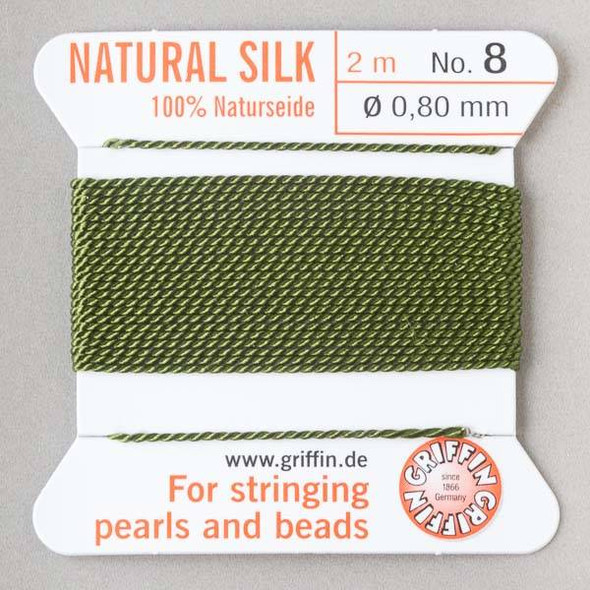 Griffin 100% Natural Silk Bead Cord - #8 (.80mm) Olive Green