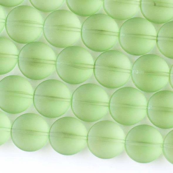 Matte Glass, Sea Glass Style 12mm Peridot Green Coin Beads - 16 inch strand