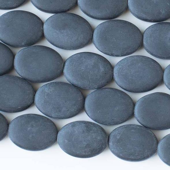 Matte Glass, Sea Glass Style 11x15mm Black Oval Beads - 16 inch strand