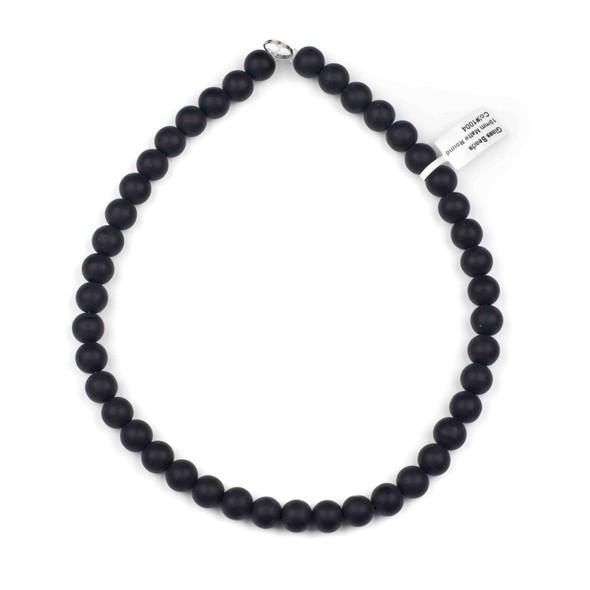 Matte Glass, Sea Glass Style 10mm Black Round Beads - 16 inch strand