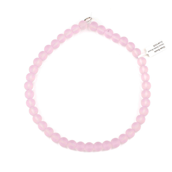 Matte Glass, Sea Glass Style 10mm Pink Round Beads - 16 inch strand