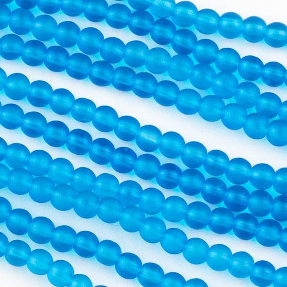 Matte Glass, Sea Glass Style 4mm Caribbean Blue Round Beads - 16 inch strand