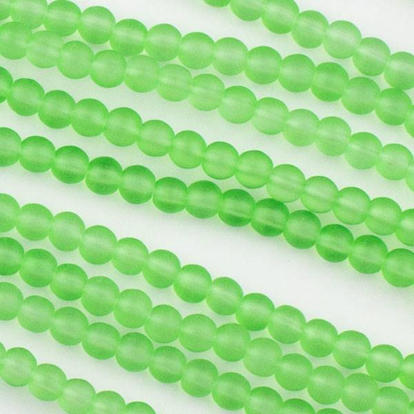 Matte Glass, Sea Glass Style 4mm Bright Spring Green Round Beads - 15.5 inch strand