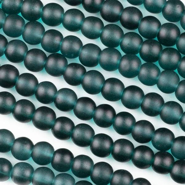 Matte Glass, Sea Glass Style 6mm Teal Green Round Beads - 16 inch strand