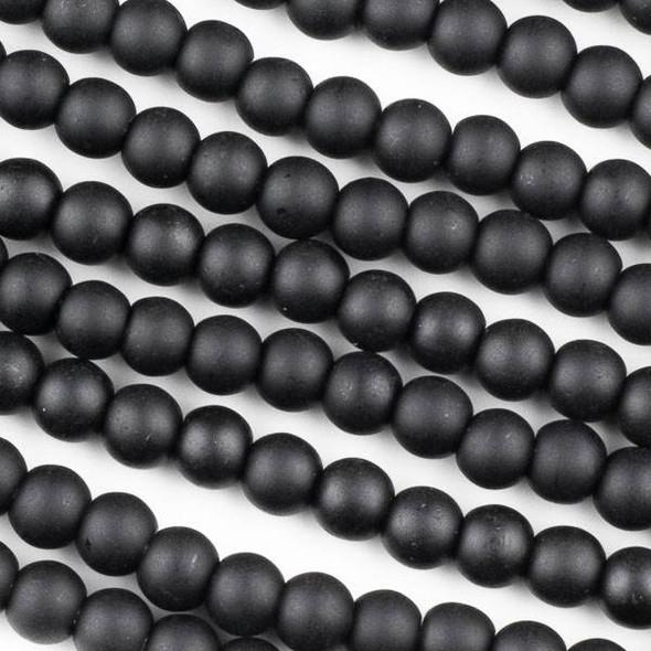 Matte Glass, Sea Glass Style 6mm Black Round Beads - 16 inch strand