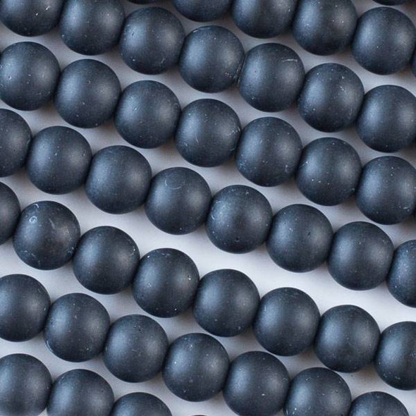 Matte Glass, Sea Glass Style 8mm Black Round Beads - 16 inch strand