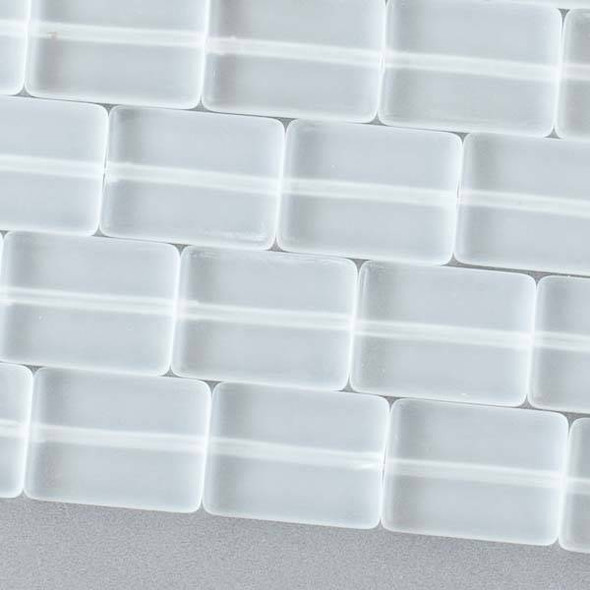 Matte Glass, Sea Glass Style 11x15mm Clear White Rectangle Beads - 16 inch strand