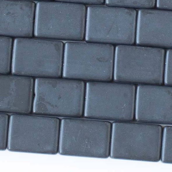 Matte Glass, Sea Glass Style 11x15mm Black Rectangle Beads - 16 inch strand