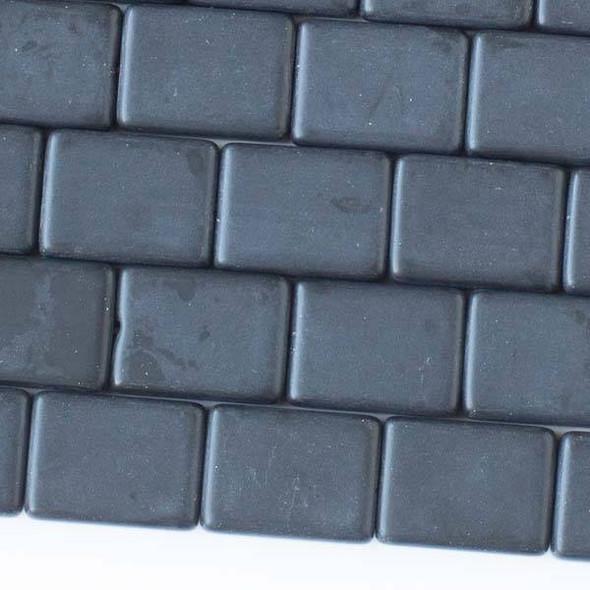 Matte Glass, Sea Glass Style 11x15mm Black Rectangle Beads - 16 inch strand