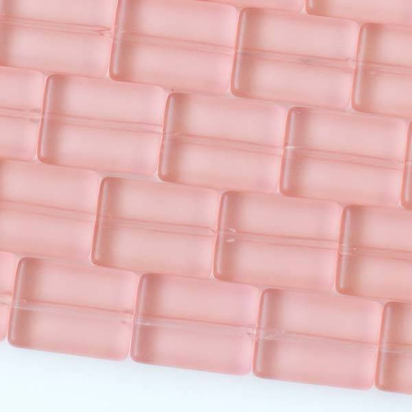 Matte Glass, Sea Glass Style 11x15mm Coral Pink Rectangle Beads - 16 inch strand