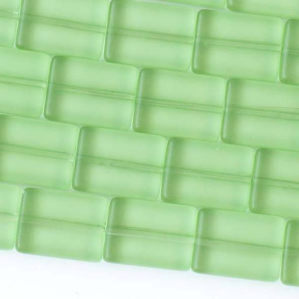 Matte Glass, Sea Glass Style 11x15mm Peridot Green Rectangle Beads - 16 inch strand
