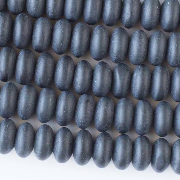 Matte Glass, Sea Glass Style 10mm Black Rondelle Beads - 16 inch strand