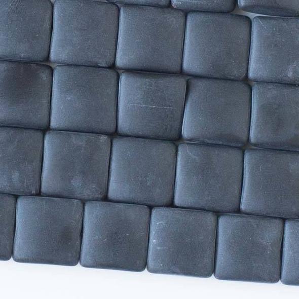 Matte Glass, Sea Glass Style 12mm Black Square Beads - 16 inch strand
