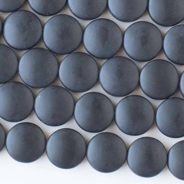 Matte Glass, Sea Glass Style 12mm Black Coin Beads - 8 inch strand