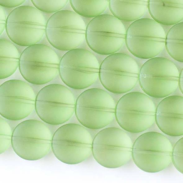 Matte Glass, Sea Glass Style 12mm Peridot Green Coin Beads - 8 inch strand