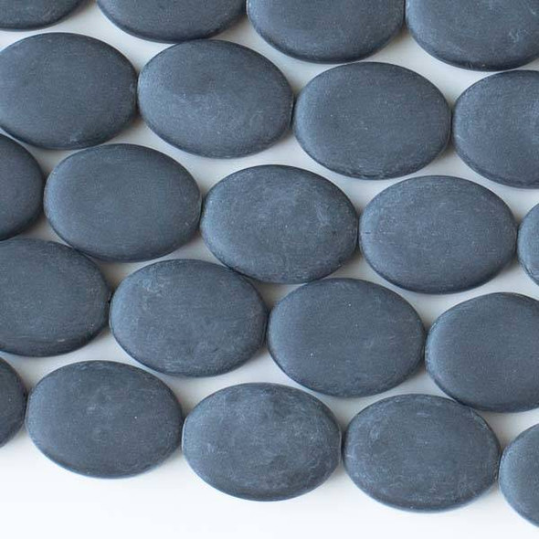 Matte Glass, Sea Glass Style 11x15mm Black Oval Beads - approx. 8 inch strand