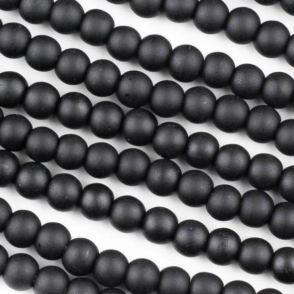 Matte Glass, Sea Glass Style 6mm Black Round Beads - approx. 8 inch strand