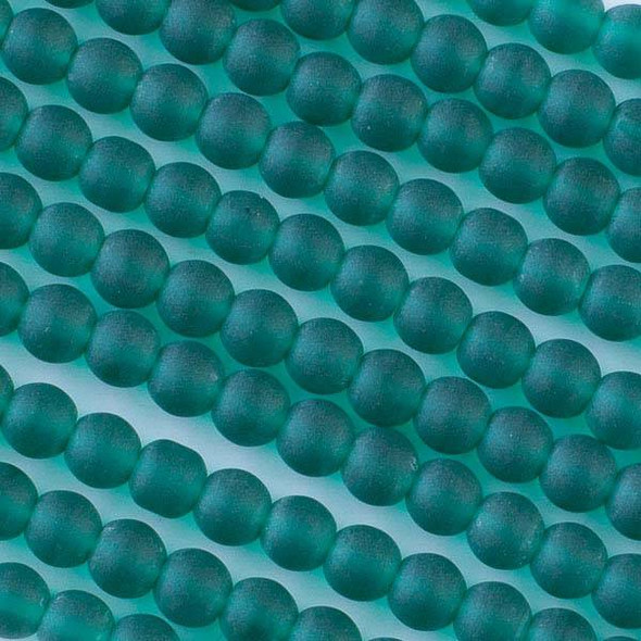 Matte Glass, Sea Glass Style 6mm Peacock Green Round Beads - approx. 8 inch strand
