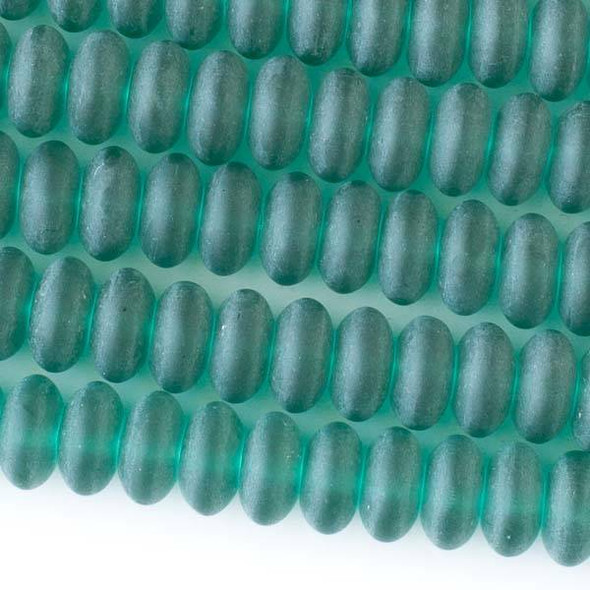Matte Glass, Sea Glass Style 10mm Peacock Green Rondelle Beads - approx. 8 inch strand