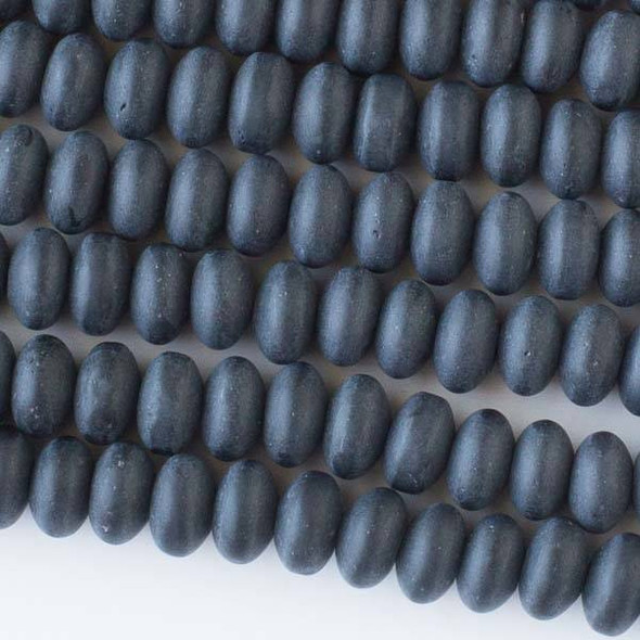 Matte Glass, Sea Glass Style 8mm Black Rondelle Beads - approx. 8 inch strand