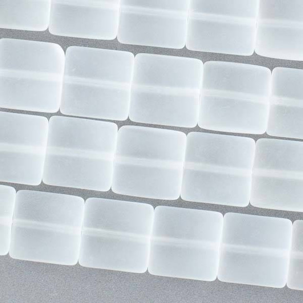 Matte Glass, Sea Glass Style 12mm Clear White Square Beads - approx. 8 inch strand