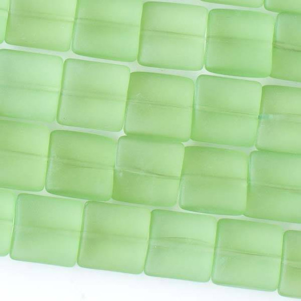 Matte Glass, Sea Glass Style 12mm Peridot Green Square Beads - approx. 8 inch strand