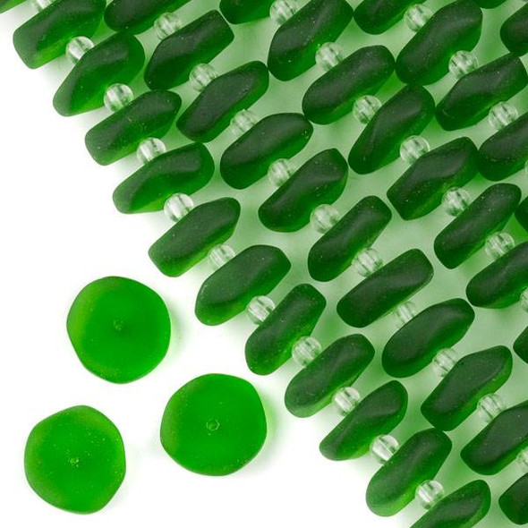 Matte Glass, Sea Glass Style 14-15mm Emerald Green Button Spacer Beads - 6 inch strand
