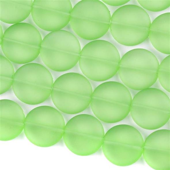 Matte Glass, Sea Glass Style 15mm Peridot Green Coin - 7.5 inch strand