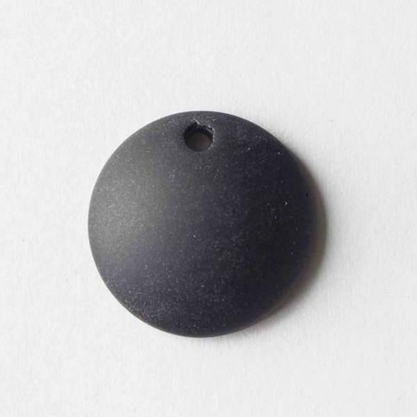 Matte Glass, Sea Glass Style 25mm Black Top Drilled Concave Coin Pendants - 7 pendants per bag