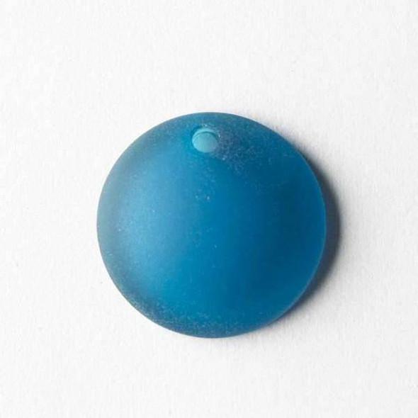 Matte Glass, Sea Glass Style 25mm Peacock Blue Top Drilled Concave Coin Pendants - 7 pendants per bag