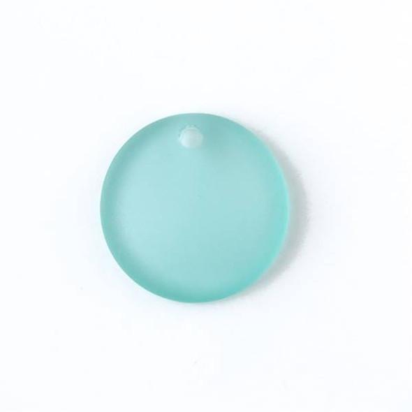 Matte Glass, Sea Glass Style 25mm Sea Foam Blue Top Drilled Concave Coin Pendants - 7 pendants per bag