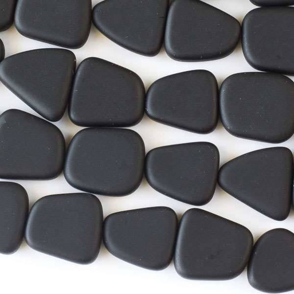 Matte Glass, Sea Glass Style approximately 13x15mm Black Small Free Form Pebble - 8 inch strand