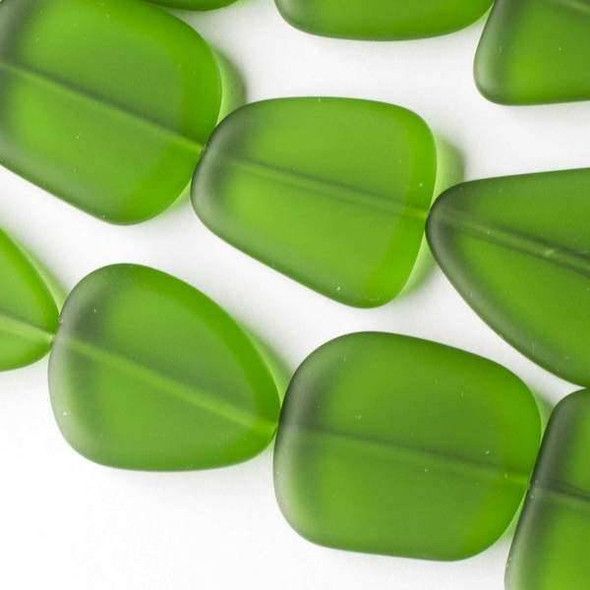 Matte Glass, Sea Glass Style approximately 20x22mm Emerald Green Free Form Pebble - 7.5 inch strand