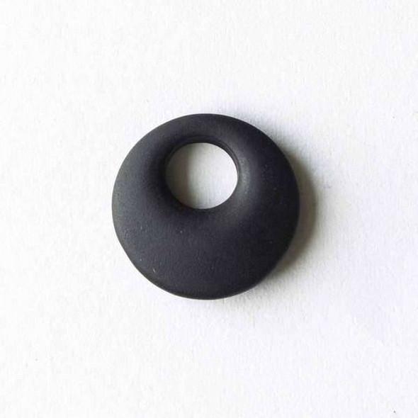 Matte Glass, Sea Glass Style 20mm Black Go-Go Pendants - 6 pendants per bag