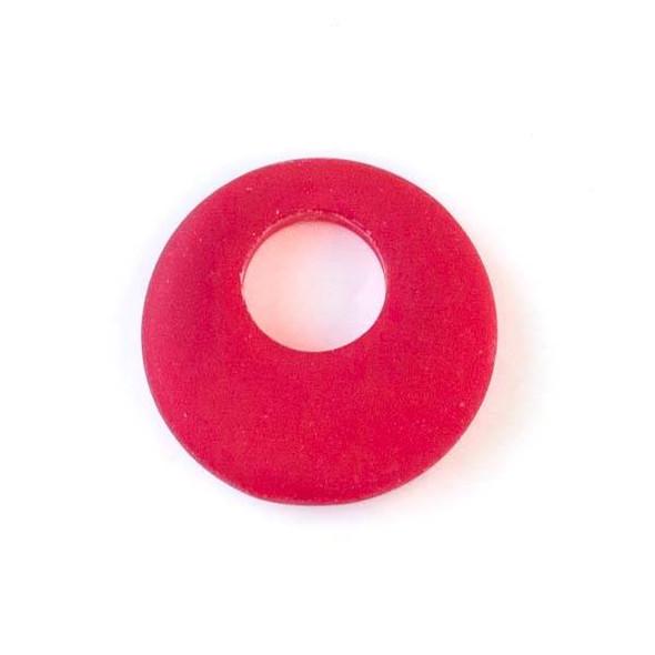 Matte Glass, Sea Glass Style 20mm Red Go-Go Pendants - 6 pendants per bag