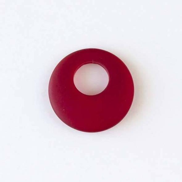 Matte Glass, Sea Glass Style 20mm Dark Red Go-Go Pendants - 6 pendants per bag