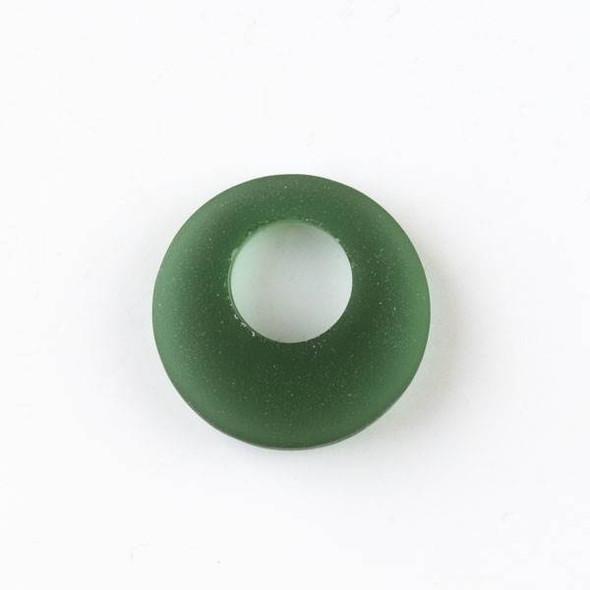 Matte Glass, Sea Glass Style 20mm Emerald Green Go-Go Pendants - 6 pendants per bag