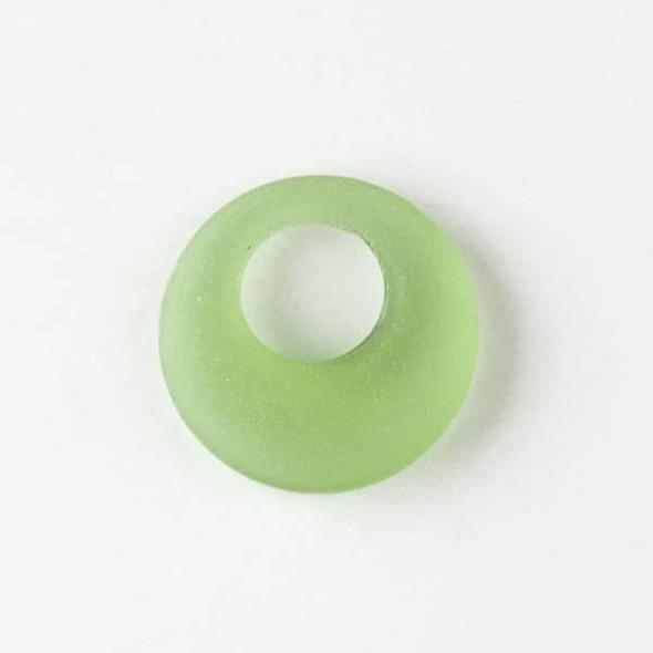 Matte Glass, Sea Glass Style 20mm Peridot Go-Go Pendants - 6 pendants per bag