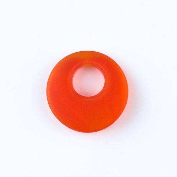 Matte Glass, Sea Glass Style 20mm Tangerine Orange Go-Go Pendants - 6 pendants per bag