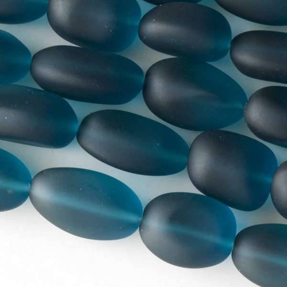 Matte Glass, Sea Glass Style approximately 13x22mm Peacock Blue Nugget - 8 inch strand
