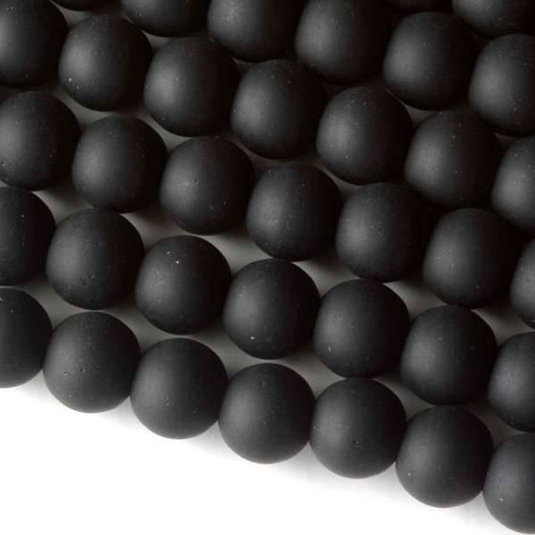 Matte Glass, Sea Glass Style 10mm Black Round Beads - approx. 8 inch strand