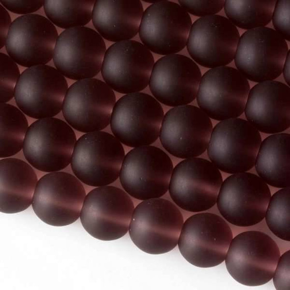 Matte Glass, Sea Glass Style 10mm Medium Amethyst Round Beads - approx. 8 inch strand
