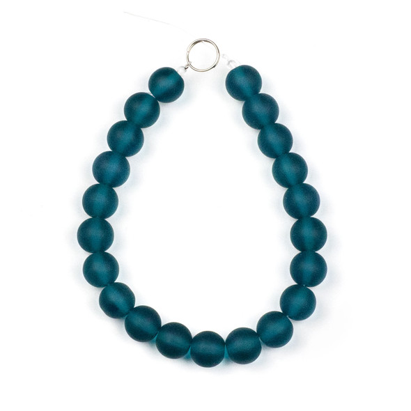 Matte Glass, Sea Glass Style 10mm Peacock Blue Round Beads - approx. 8 inch strand
